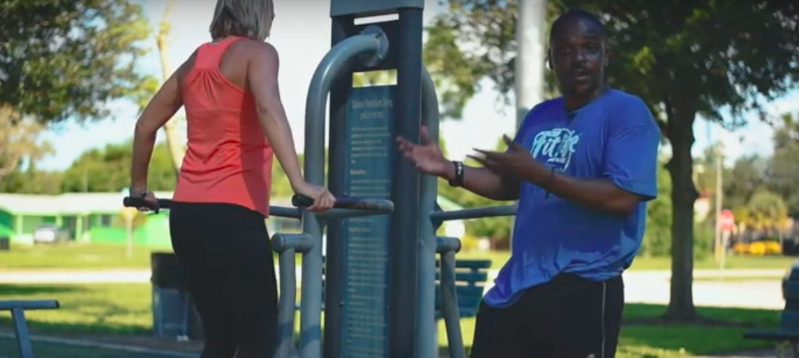 man woman exercise zone