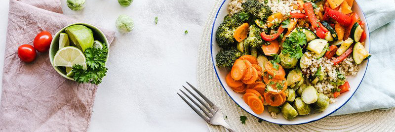 Fresh vegetable plate and fork